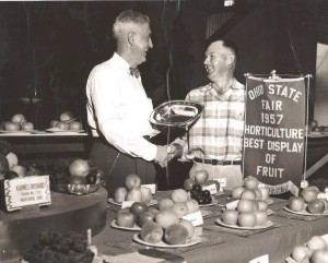Grandpa Bill wins best display of fruit at 1957 Ohio State Fair.