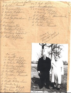 List of trees for first commercial planting in fall 1876. The picture at bottom right is of Grandpa Joseph