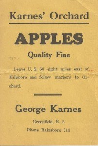 The first Karnes Orchard business card after opening the market.