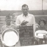 Grandpa Bill and his three children after winning best 40 tray display at the 1950 Ohio State Fair.